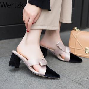 Wertzk nuovo arrivo 2020 bowknot Pantofole donna ha sottolineato Toe tacchi alti delle donne dei pistoni dei pattini di modo delle signore zapatos mujer E512