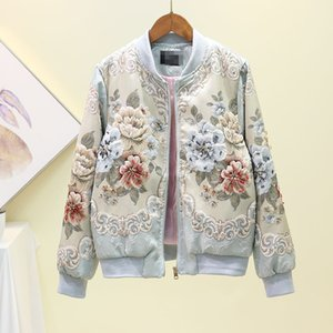 Uzun S M L casacos elmas taklidi lüks kısa ceket palto boncuk 3D çiçek jakarlı manşon o-boyun Yeni tasarım kadın moda rahat