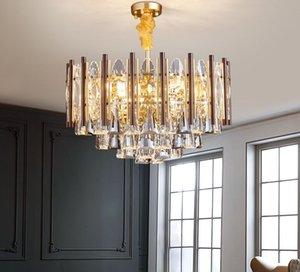 تصميم جديد فاخر الحديثة جولة كريستال الثريا الإضاءة الذهب الإبداعية مستطيل الثريات أضواء مصابيح قلادة MYY