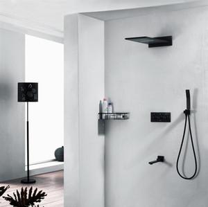 도매 럭셔리 4 기능 샤워 패널 WaterHead ShowerHead 욕실 액세서리 304ss 비 샤워 수도꼭지 세트 블랙 샤워