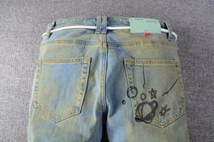 Neue Ankünfte Mens Jeans Designer Weiß Aus Lichtreflexion Fit Ankunft Biker Jeans Used-Look-Diamant-Streifen-hochwertige Hosen-Größe 29-40