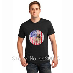Custom Short Sleeve Round Collar 4th of july pug pug american flagpatriotic Letters Spring Leisure HipHop Tops tshirt for men
