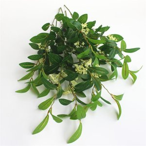 """Fake Osmanthus Leaves Bunch (2 stems piece) 26.77"""" Length Simulation Greenery Green Plant for Wedding Home Decorative Artificial Plants"""