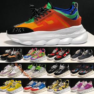 2020 Новый Цепные кроссовки для мужчин Женщины Италия толстым дном корзины Мода Chainz Fluo Barocco Печать Открытый Повседневная обувь Размер 36-45