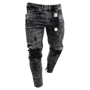 Feitong Jeans Hommes Coton Printemps 2020 MenClothes Denim Pantalon Distressed Freyed Slim Fit Pantalons Jeans stretch Ripped