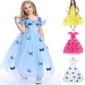Çocuklar Kostümler Prenses Giydirme Kar Tanesi Pırlanta Kelebek Fantezi Elbise Mavi Beyaz Önlük Halloween Kız XD21660 Cosplay