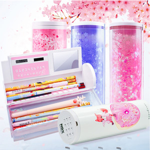 Password Pencil Case Cartoon Pattern Pen Holder Large Capacity Stationery Box Coded Lock Home Office School Storage Bag