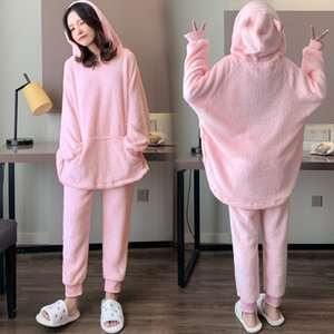 Maternity Clothes Autumn And Winter Set-Style Fashion Mom Hooded Pullover Pajamas Maternity Pants Pajama Pants Two-Piece Set