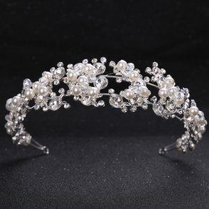 TUANMING Kristallperlen-Blumen-Braut-Stirnband-Frauen-silberne Prinzessin-Hochzeit Haarschmuck Tiara Haarband Haarschmuck Crown
