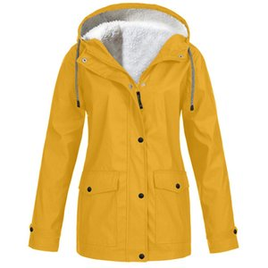 Plus Size Women Solid Plush Thickening Waterproof Hooded Jackets Outdoor Raincoat Hiking Windproof Coat For Female Winter