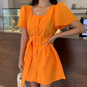 New Fashion Square collar Summer Women's short Sleeve Jumpsuit High Waist Sashes single-breasted Romper Overalls Female T200704