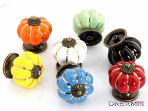 Free shipping 10pcs pumpkin Ceramic knob for Kids  Children, Kitchen Ceramic Door Cabinets Cupboard knob and handles Dia 40mm