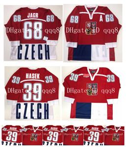Vintage 1998 TSCHECHIEN Trikots 39 Dominik Hašek 68 Jaromir Jagr Red Nagano Olympia Hockey Jersey