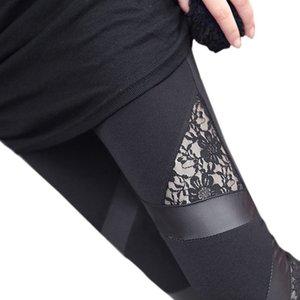 autumn NEW punk gothic rock legging sexy Women's Leggings Women's Clothing lace PU Leather splice femininos Women apparel Leggings