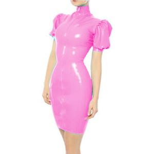 Plus Size Sexy High Neck PVC Mini Dress Women Short Puff Sleeve Bodycon Dress Fashion Skinny Vestido Wet Look Party Clubwear