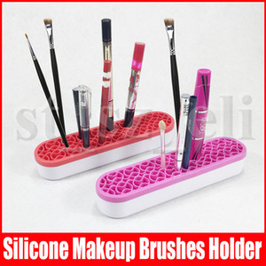 Maquiagem Silicone Brushes Titular Box Makeup Brush Holder rack stand cosméticos ferramenta multifuncional Compo A Escova Escova Titular Box