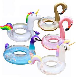 Sereia lantejoulas infláveis flutuadores PVC espessamento anel de natação adulto Flamingo Unicórnio Pavão Multi estilo Anti desgaste venda quente 30kl9I1