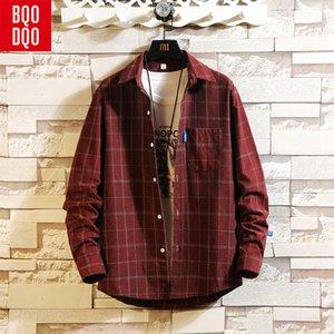 BQODQO Automne Plaid Casual Shirt Hommes À Manches Longues Coton Blouse Coréenne Poche Streetwear Harajuku Chemises Top Vintage Plus