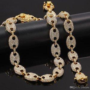 2019 Mens Marine Link Chain+8inch Bracelet Set Iced Out Bling Chain Necklace 16inch 18inch 20inch 22inch 24inch Link Chain Bracelets