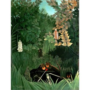 High quality Oil Paintings of Henri Rousseau art The Monkeys canvas Hand painted Personalized Gift