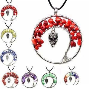 11 cores mulheres rainbow 7 chakra tree of life colar de pingente de coruja de quartzo multicolor pedra natural árvore de sabedoria colar