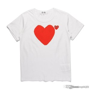 2018 COM Kalite Erkekler Kadınlar Beyaz Comme des Garçons Anne ve oğlunun kalp toplam kolu tişört Beyaz erkekler tasarımcı tişörtleri