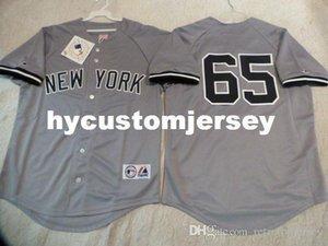 barato costume MAJESTIC New York Phil Hughes # 65 SEWN Baseball Jersey GRAY New Mens costurados camisas grandes e tamanho Alto XS-6XL Venda