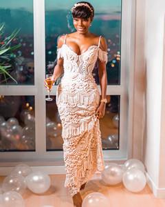 2019 Arabic Luxurious Lace Beaded Beach Wedding Dresses Spaghetti Sheath Vintage Bridal Dresses Sexy Wedding Gowns SY243