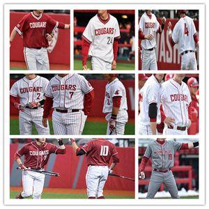 Personalizzato 2020 Washington State Cougars universitaria di baseball Jersey TANNER WEST BRYCE Moyle COLLIN MONTEZ ZANE MILLS A.J. BLOCCO KYLE MANZARDO 4XL