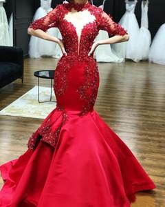 2019 Red Satin Cuello alto Apliques de encaje Sirena Vestidos de baile Medias mangas Con cuentas Vestidos de noche formales Vestidos de fiesta Vestidos por encargo