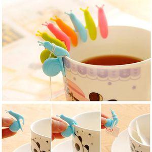 Cute Snail Squirrel Shape Silicone Tea Bag Holder Cup Mug Tea Bag Clip Candy Colors Gift Set Good Teas Tools Tea Infuser 5 Colors