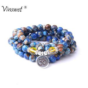 Beads braccialetto uomini `s delle donne naturali Imperial Jaspers con Lotus OM Buddha Charm Bracelet 108 Mala collana Dropshipping