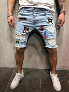 Pantaloncini di jeans casual Hemme allentati Burrs Shorts geometrica Applique Uomo Estate Shorts con Cerniera Fori Man