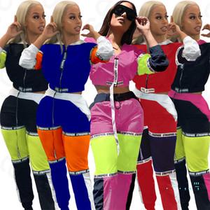 2020 primavera remiendo mujeres de la manga larga Chándal Zip chaquetas Crop Top pantalones 2pcs / Establece capa de la señora traje deportivo pantalones de ropa S-XXL D4204