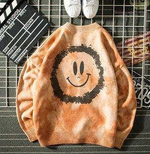 Mens sweaters Autumn tie-dye sweater man trend hip-hop street Japanese big smile round neck unisex pullover sweater