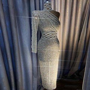 2020 الجديدة البريق الفضي مطرزة كريستال مستقيم فستان حفلة موسيقية فاخر الكتف واحد أحجار الراين الحفلة الراقصة الشاي LengthHigh الياقة Vestidos