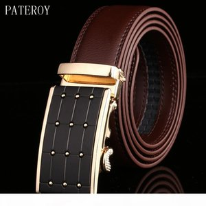 PATEROY Belt Men Top Quality Genuine Luxury Leather Belts for Men Designer Strap Male Automatic Buckle Waistband Cinto Masculino