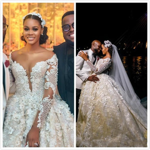 Luxuoso 2020 Árabe Plus Size A Linha de Vestidos de Noiva Sem Encosto Longos Mangas Cristais Vestidos De Noiva Deslumbrantes Vestidos De Casamento Personalizar