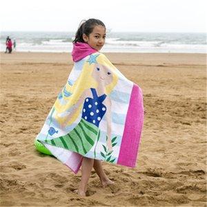 2020 Telo mare europee e americane bambini gratis stile formaldeide possono indossare asciugamano puro cotone con cappuccio vasca da bagno, lunghezza 76 centimetri del Capo