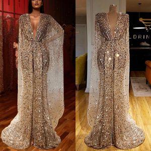 2020 Sparkly Sequins Mermaid Prom Reflective Vestidos Couture V Neck alta Dividir Chic Vestido Turquia Árabe brilhante Pageant vestidos de noite