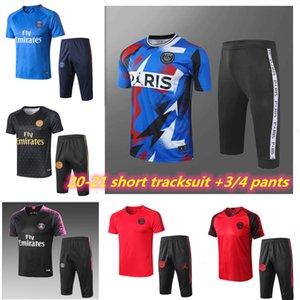 2019 calças 2020 2021 jordam paris fato de treino de manga curta cortadas Mbappé CAVANI agasalho 19 20 21 Paris 3/4 calças uniforme de futebol