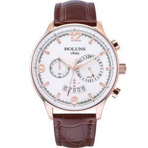 Luxusuhr 22 mm große 24 Stunden Wahlquarzuhr Mann-Armbanduhr wasserdicht Zähler Uhren für Männer 2020 / F