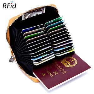 Portafogli per carte di credito RFID in pelle morbida da uomo Porta carte di credito ID alta capacità Porta passaporto Portafogli donna portamonete Portafoglio da viaggio casual XW22