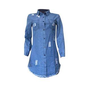Женская Hiphop Denim Blue Jean рубашка платье весна осень рваные джинсы кисточка Дизайнер платья