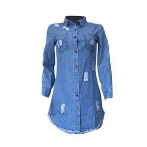 Womens Hiphop Denim Blue Jean Shirt Dress Primavera Autunno jeans strappati nappa Vestiti Designer
