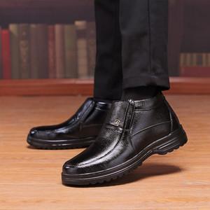 Quente couro genuíno Botas Sapatos Masculinos Inverno Neve Botas Mens Sapatos de trabalho Moda Footwear Rubber Tornozelo Botas Sapatos casuais para homens