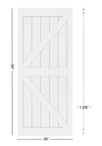 DIYHD 36in 38in 42in Anchura K Forma Barn Door Slab MDF panel de la puerta Solid Core Primed Interior (desmontado)