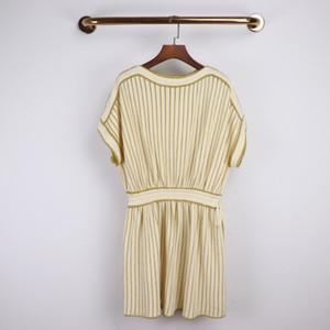 Tasarımcı 2020 Pirinç Beyaz Çizgili Baskı Kadın Elbise Milan Pist Mürettebat Boyun Sleevlees Nakış Boncuk Tatil Uzun Elbise 031714