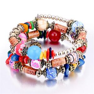 Encantos pulsera de colores bohemio de la flor de Jewlery niñas moda étnica perlas pulseras para mujeres de la vendimia de múltiples capas de abrigo rebordeado de los filamentos de regalos