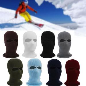 El nuevo estilo caliente de la manera de punto 2 Agujero esquí máscara Sombrero del escudo de la cara llena de la gorrita tejida sólido nieve caliente invierno